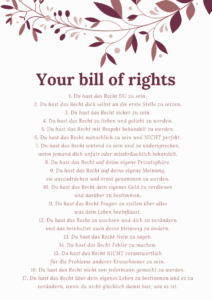 17 Lebensrechte - Your bill of rights